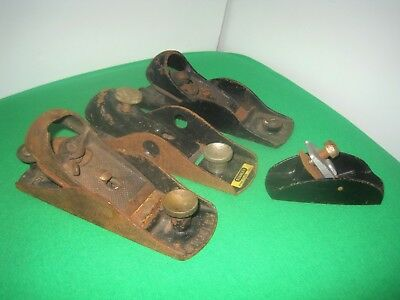 Vintage Lot of 4 Small Size Metal Woodworking Planes. 2 Stanley.