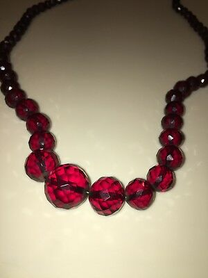 "Antique 1930's Vintage Faceted Cut Crystal Glass Red 38"" Long Beaded Necklace"