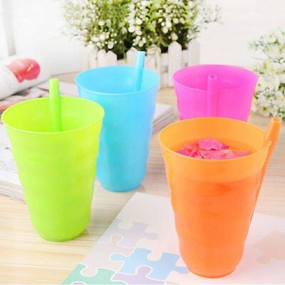 Kids Children Infant Baby Sip Cup with Built in Straw Mug Drink Home Colors KU
