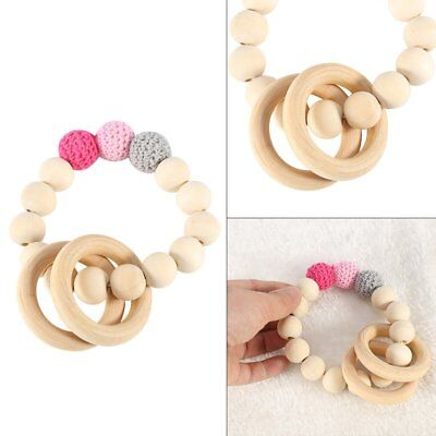 Cute Safe Natural Wooden Shape Ring Baby Teether Teething Toy Shower Gift KU