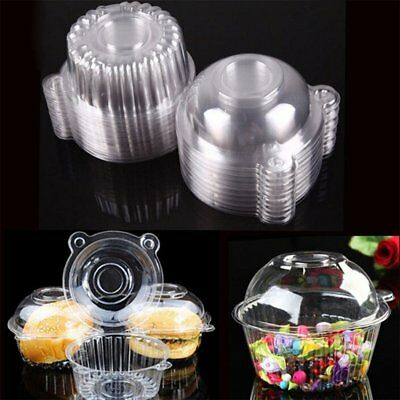 10-100X Clear Plastic Cupcake Box Cake Case Muffin Dome Holder Container KU