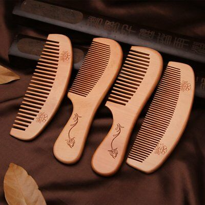 Natural Wooden Fine Wide Tooth Comb Peach Wood Anti Static Massage Hair Comb New