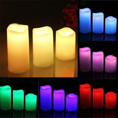 3 Pcs Amber LED Timer Candle Lights Flameless Battery Operated Mood Candles KU
