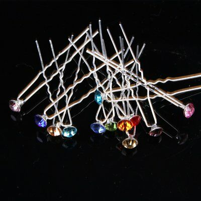 10/20pcs Crystal Rhinestone Wedding Bridesmaid Prom Hair Pins Hairpin Clips KU