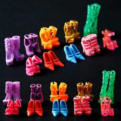 10Pairs Set Mini Barbie Doll Shoes High Heel Boot Sandal Outfit Mix Party Random
