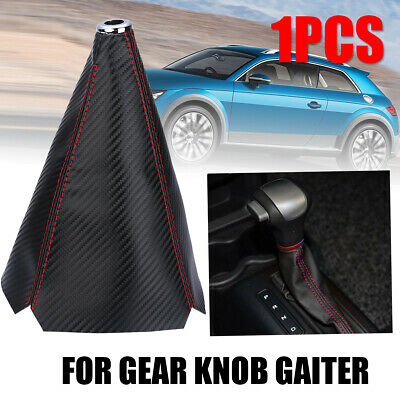 New Universal Carbon Fiber Manual Gear Shift Knob Boot Cover Gaiter Red Stitch
