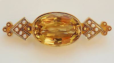 Fine Antique Victorian 15ct Gold Scottish Cairngorm Citrine & Pearl Brooch c1875