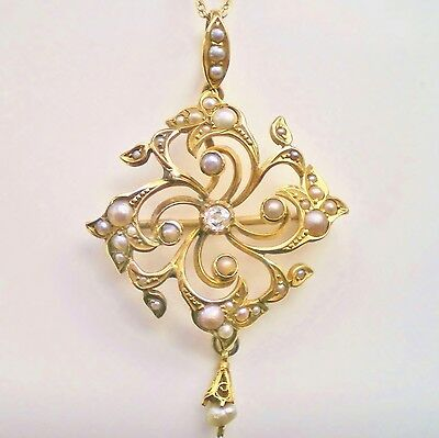 Antique Victorian 15ct Gold Diamond & Seed Pearl Pendant Brooch Necklace c1890