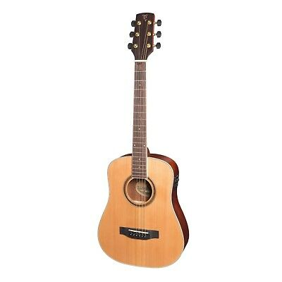 NEW Timberidge Left Handed Mini Solid Cedar Top Acoustic-Electric Guitar w/ Case