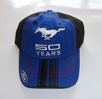 Ford Mustang 50th Anniversary 50 Years Embroidered Blue Hat / Cap - One Size