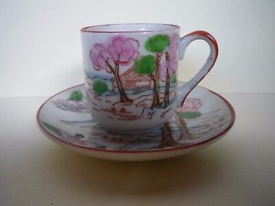 Small Traditional Japanese Decorated Cup and Saucer