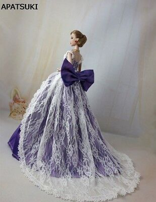 """Purple Bowknot Lace Wedding Dress for 11.5"""" Doll Princess Dresses Doll Clothes"""