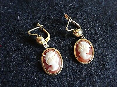 Antique Vintage OLD Hand Carved Peach Cameo Gold Filled Pierced Dangle Earrings