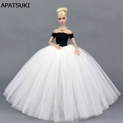 """Black White Wedding Dress for 11.5"""" Doll Princess Clothes for 1:6 Dollhouse Toy"""