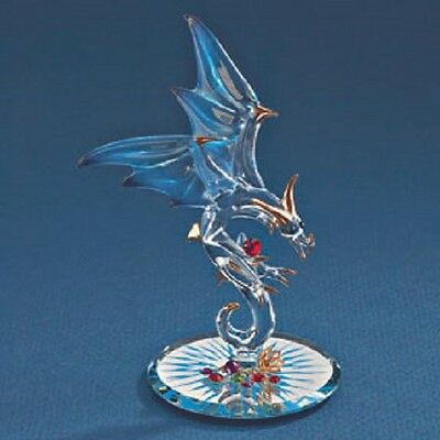 Glass Baron ~ Dragon - Jewel Keeper ~ Blue and Red Crystals ~ New in Box