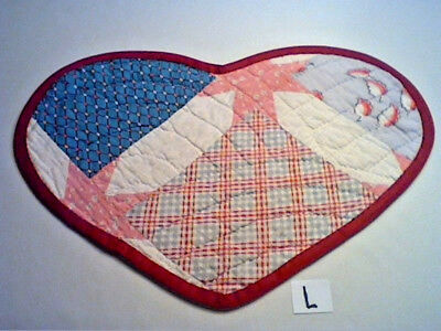 "HEART SHAPED TABLE MAT MADE FROM OLD VINTAGE PATCHWORK QUILT 18"" x 12 1/2"" (L)"