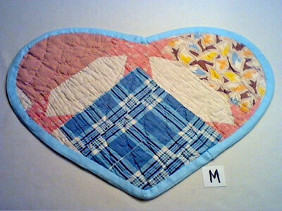 "HEART SHAPED TABLE MAT MADE FROM OLD VINTAGE PATCHWORK QUILT 18"" x 12 1/2"" (M)"