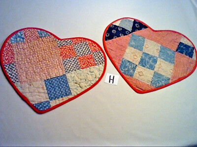 "LOT 2 HEART SHAPED TABLE MATS MADE FROM OLD VINTAGE PATCHWORK QUILT 12""x10"" (H)"