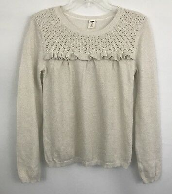 Girl's OLD NAVY Beige Gold Sweater Crochet Ruffle Detail Sweater Size XL 14
