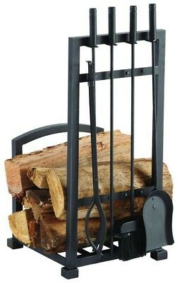 Pleasant Hearth Harper 4-Piece Log Holder And Fireplace Tool Set Antique Black
