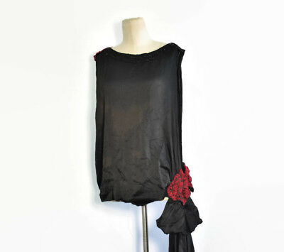 1920's Vintage Black Silk Satin Tabard Dress Topper / Overdress