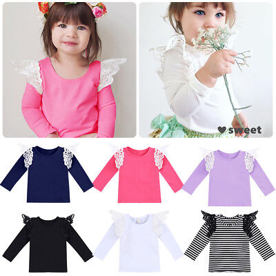 Toddler Kids Baby Girls Flutter Long Sleeve T-Shirt Tops Casual Solid Blouse Tee