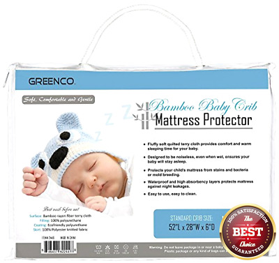 Crib Mattress Protector Hypoallergenic Soft Cotton Baby Waterproof Bed Cover