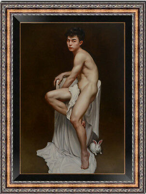 "Hand-painted Original Oil painting art gay Portrait male nude on Canvas 24""X36"""
