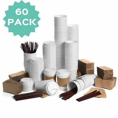 60 Disposable Paper Coffee Hot Cups with Travel Lids Sleeves Stirrers 12oz 400ml