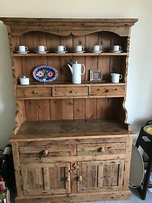Stunning Victorian Reclaimed Pine Housekeepers Clock Dresser