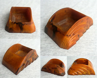 VINTAGE ANTIQUE ART DECO MARBLED YELLOW AMBER BAKELITE CATALIN DESK STAND 141gr.