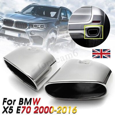 2X Exhaust Muffler Dual End Pipe Tip Stainless Steel Chrome  For BMW X5 E70