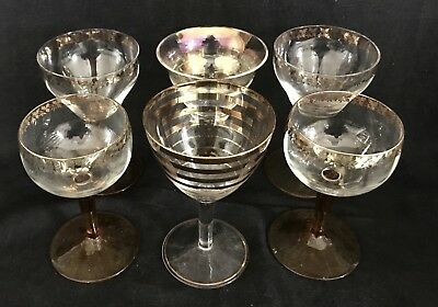 BEAUTIFUL HARLEQUIN SET of ART  DECO SHERRY GLASSES Vintage c1930