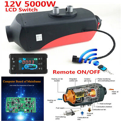 12V 5000W Wireless LCD Monitoring Air Diesel Fuel Heater PLANAR Wireless Remote
