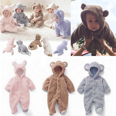 AU Newborn Infant Baby Boys Girls Romper Hooded Jumpsuit Bodysuit Clothes Outfit