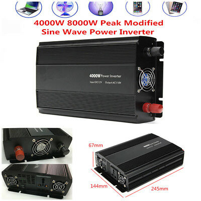 4000W 8000W Modified Sine Wave Power Inverter Converter DC12V to AC110V w/ Cable