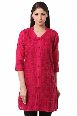 S L XL KURTA KURTI ETHNIC 100%COTTON TOP HANDMADE CHIKAN EMBROIDERY Work AllOver
