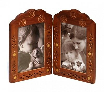 Double Vintage Picture Frame 3x5 Pictures Decorative Antique Wood Picture Frame