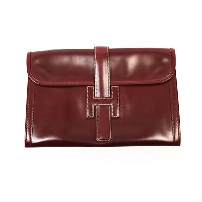 fc9d0fb649ff HERMES Jige Elan 29 Clutch Bag Burgundy Smooth Box Leather - K in a circle