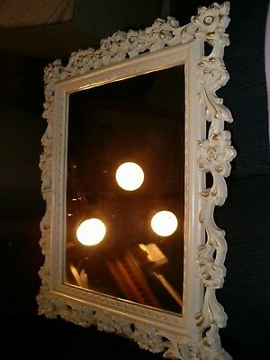 Vintage MCMLVIII  Syroco Ornate Wall  or Standing Mirror, White & Gold 0004
