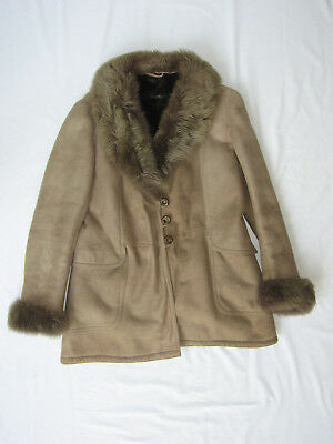 Vtg Shearling Genuine Sheepskin Coat Fits Women's L As Is with Flaws