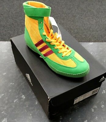 Adidas Combat Speed 4 Boxing Boots- Green/Gold/Purple- Size 7