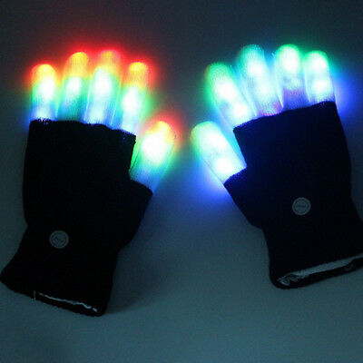Cool LED Glow Rave Flashing 7 Mode Light Up Finger Lighting Black Gloves
