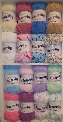 James Brett Flutterby Chunky Polyester 100g Baby Supersoft Knitting Wool Yarn