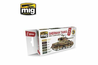 AMMO OF MIG A.MIG-7169 Set Sherman Tanks Vol. 1 (WWII Commonwealth) 6x17ml