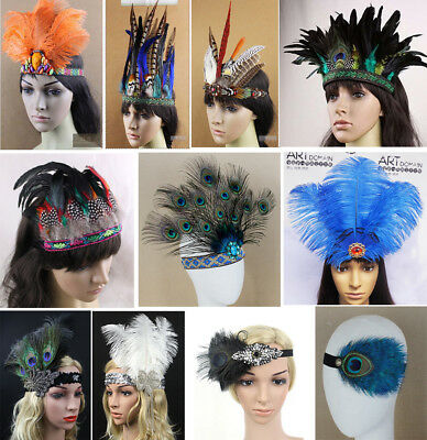 Indian Feather Showgirl Headband Headdress Headpiece Headgear Carnival Samba
