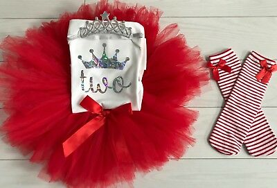 Baby Girls 2nd Second Birthday Tutu Skirt Outfit Red & Knee High Socks Party Dre