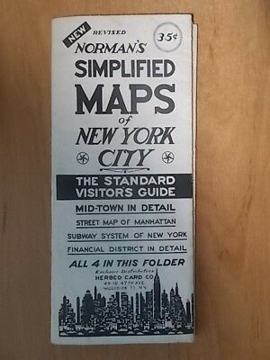 Vintage Norman's Simplified Map Of New York - The Standard Visitors Guide - Vgc