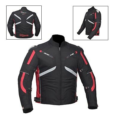 Red/Black Men's Waterproof Genuine Motorbike Motorcycle Cordura Jacket CE