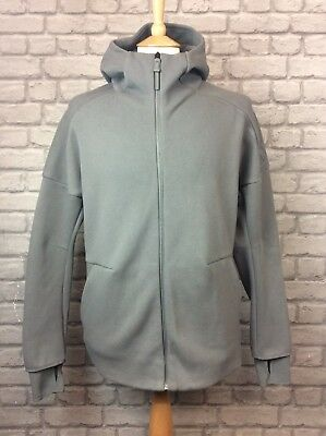 Adidas Mens Uk M Ash Grey Full Zip Zne Hoodie Hooded Top